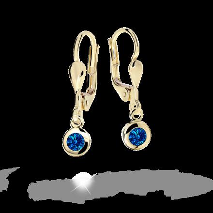 Children's earrings Danfil C1537 Yellow gold, Dark Blue, Leverbacks