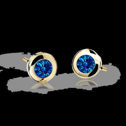 Children's earrings Danfil C1537 Yellow gold, Dark Blue, Screw backs