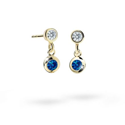 Children's earrings Danfil C1537 Yellow gold, Dark Blue, Screw backs