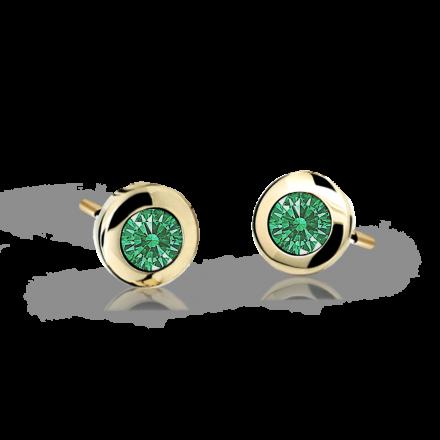 Children's earrings Danfil C1537 Yellow gold, Emerald Green, Screw backs