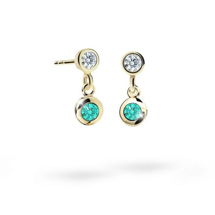 Children's earrings Danfil C1537 Yellow gold, Mint Green, Screw backs