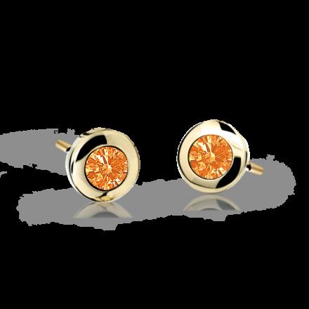 Children's earrings Danfil C1537 Yellow gold, Orange, Butterfly backs