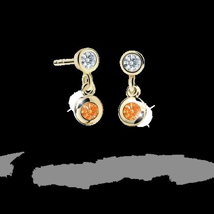 Children's earrings Danfil C1537 Yellow gold, Orange, Screw backs