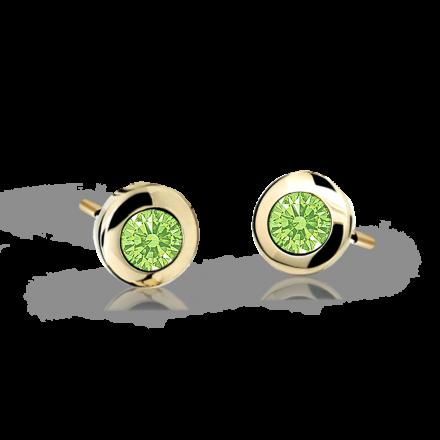 Children's earrings Danfil C1537 Yellow gold, Peridot Green, Butterfly backs