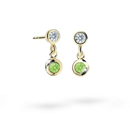 Children's earrings Danfil C1537 Yellow gold, Peridot Green, Butterfly backs
