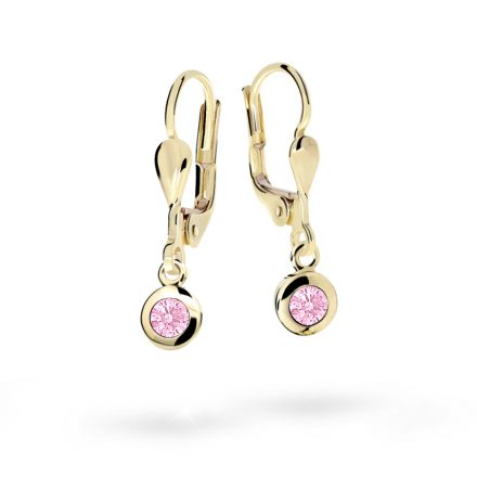 Children's earrings Danfil C1537 Yellow gold, Pink, Leverbacks