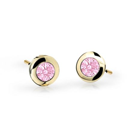 Children's earrings Danfil C1537 Yellow gold, Pink, Screw backs