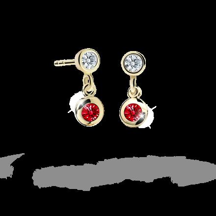 Children's earrings Danfil C1537 Yellow gold, Ruby Dark, Butterfly backs