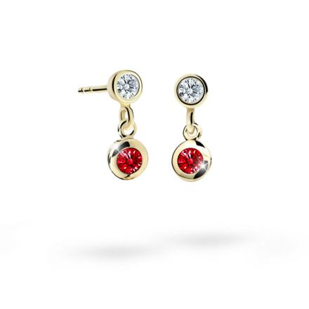 Children's earrings Danfil C1537 Yellow gold, Ruby Dark, Screw backs