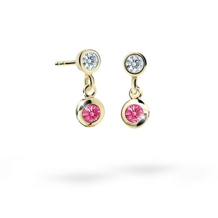 Children's earrings Danfil C1537 Yellow gold, Tcf Red, Butterfly backs
