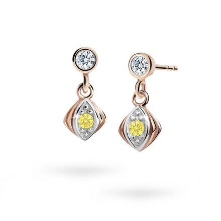 Children's earrings Danfil C1897 Rose gold, Yellow, Butterfly backs