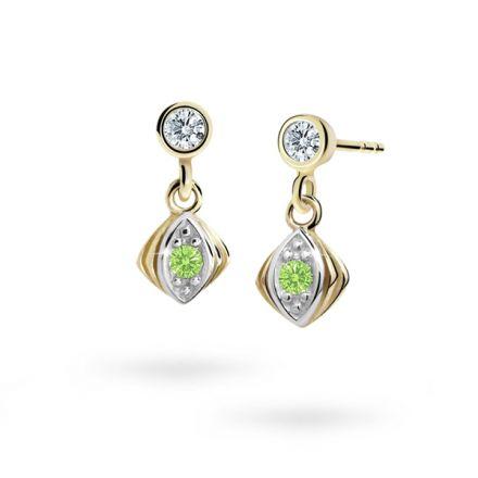 Children's earrings Danfil C1897 Yellow gold, Peridot Green, Butterfly backs