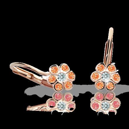 Children's earrings Danfil Flowers C1737 Rose gold, Orange, Leverbacks