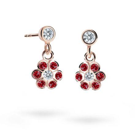 Children's earrings Danfil Flowers C1737 Rose gold, Ruby Dark, Butterfly backs