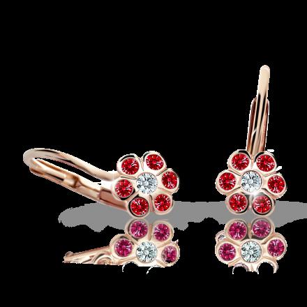 Children's earrings Danfil Flowers C1737 Rose gold, Ruby Dark, Leverbacks