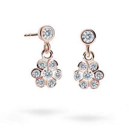 Children's earrings Danfil Flowers C1737 Rose gold, White, Butterfly backs