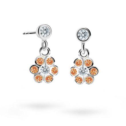 Children's earrings Danfil Flowers C1737 White gold, Orange, Butterfly backs
