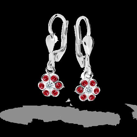 Children's earrings Danfil Flowers C1737 White gold, Ruby Dark, Leverbacks