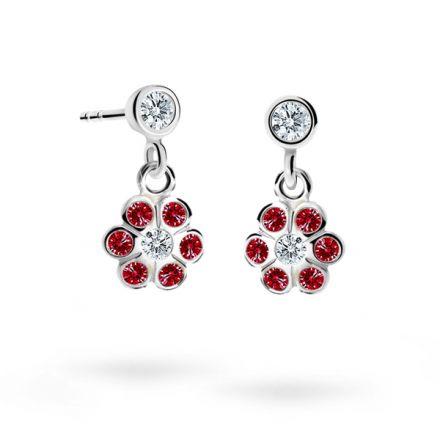 Children's earrings Danfil Flowers C1737 White gold, Ruby Dark, Screw backs