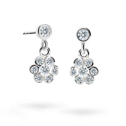 Children's earrings Danfil Flowers C1737 White gold, White, Screw backs