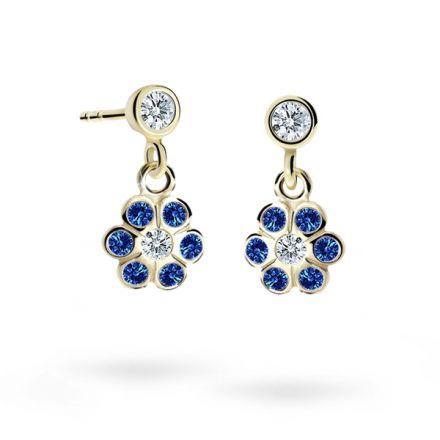 Children's earrings Danfil Flowers C1737 Yellow gold, Dark Blue, Butterfly backs