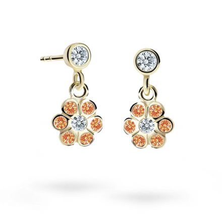 Children's earrings Danfil Flowers C1737 Yellow gold, Orange, Butterfly backs