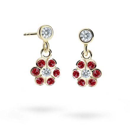 Children's earrings Danfil Flowers C1737 Yellow gold, Ruby Dark, Butterfly backs