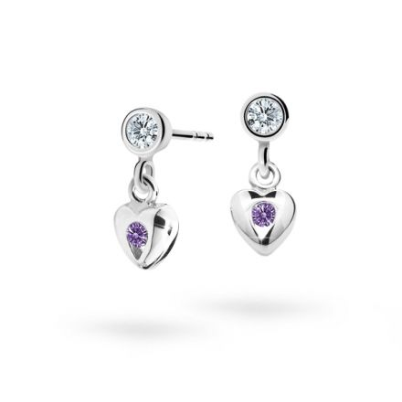 Children's earrings Danfil Hearts C1556 White gold, Amethyst, Butterfly backs