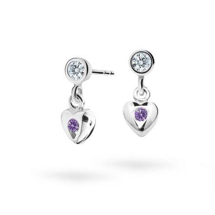 Children's earrings Danfil Hearts C1556 White gold, Amethyst, Screw backs