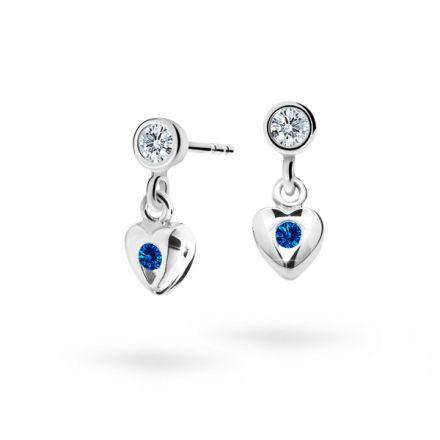 Children's earrings Danfil Hearts C1556 White gold, Dark Blue, Screw backs