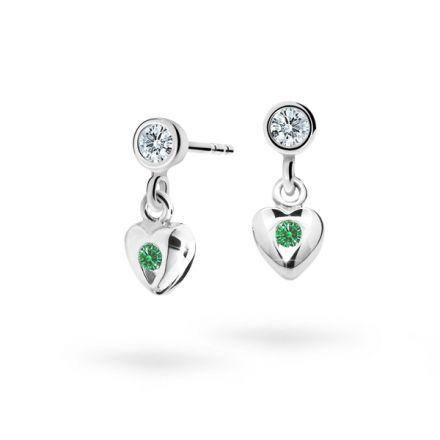 Children's earrings Danfil Hearts C1556 White gold, Emerald Green, Butterfly backs