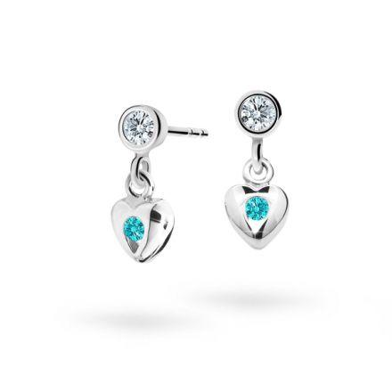 Children's earrings Danfil Hearts C1556 White gold, Mint Green, Screw backs