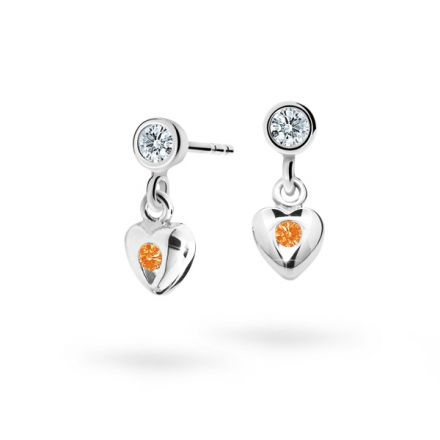 Children's earrings Danfil Hearts C1556 White gold, Orange, Butterfly backs