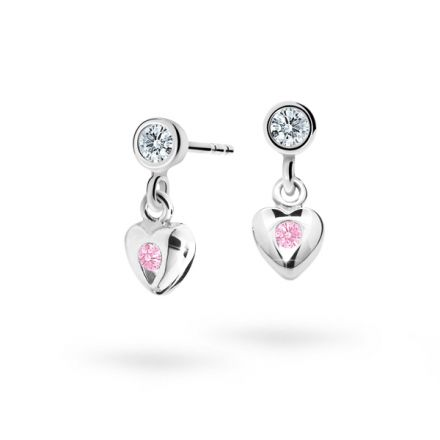 Children's earrings Danfil Hearts C1556 White gold, Pink, Butterfly backs