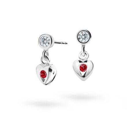 Children's earrings Danfil Hearts C1556 White gold, Ruby Dark, Screw backs