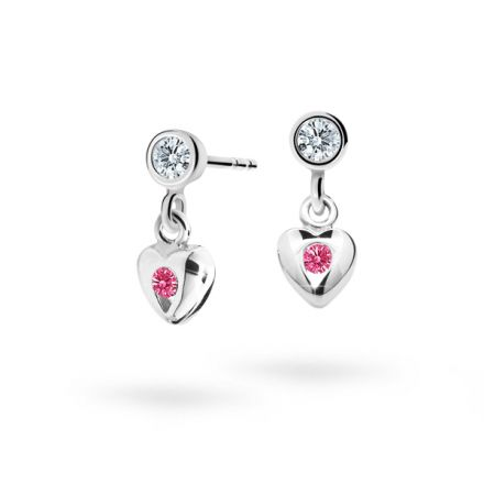 Children's earrings Danfil Hearts C1556 White gold, Tcf Red, Butterfly backs
