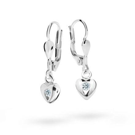 Children's earrings Danfil Hearts C1556 White gold, White, Leverbacks