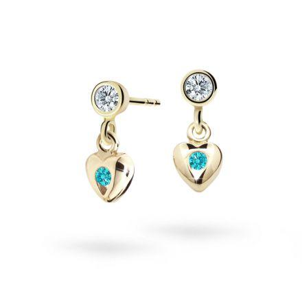 Children's earrings Danfil Hearts C1556 Yellow gold, Mint Green, Screw backs