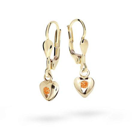 Children's earrings Danfil Hearts C1556 Yellow gold, Orange, Leverbacks