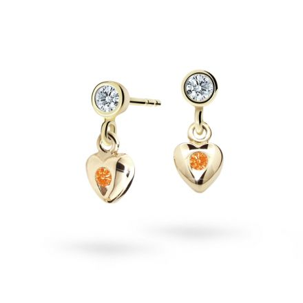 Children's earrings Danfil Hearts C1556 Yellow gold, Orange, Screw backs