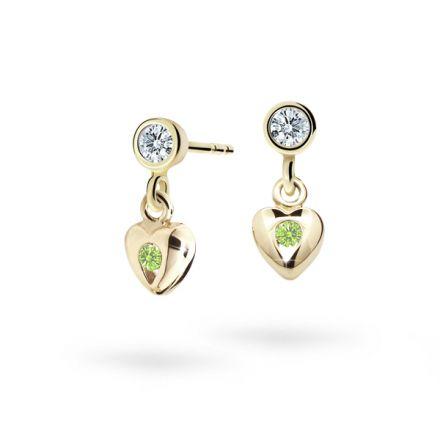 Children's earrings Danfil Hearts C1556 Yellow gold, Peridot Green, Screw backs