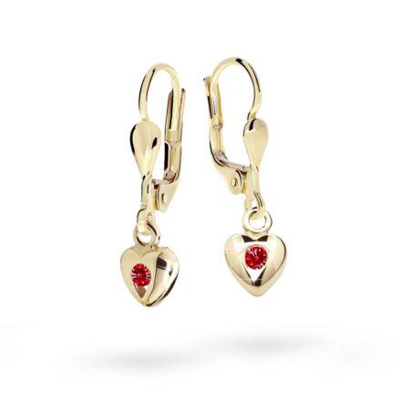 Children's earrings Danfil Hearts C1556 Yellow gold, Ruby Dark, Leverbacks