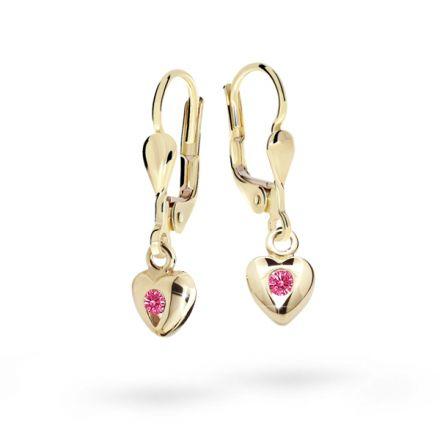 Children's earrings Danfil Hearts C1556 Yellow gold, Tcf Red, Leverbacks