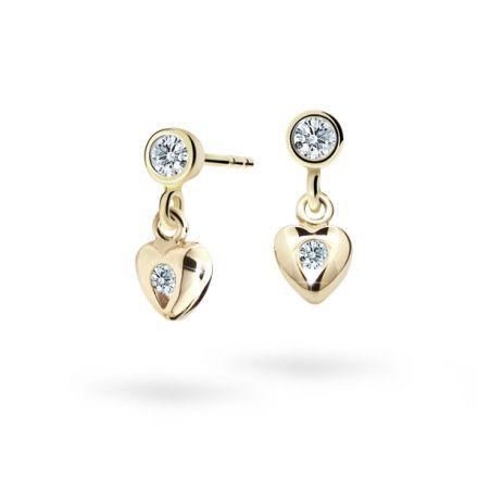 Children's earrings Danfil Hearts C1556 Yellow gold, White, Screw backs
