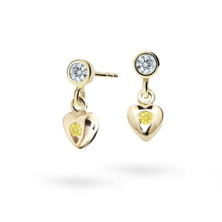 Children's earrings Danfil Hearts C1556 Yellow gold, Yellow, Screw backs